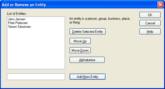 Adding or Removing an Entity Dialog Box