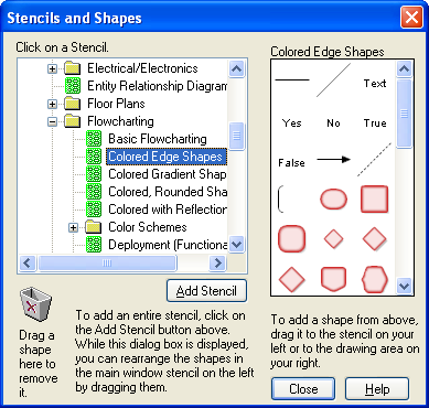 Stencils and Shapes Dialog Box